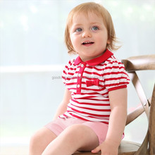 Wholesale T5561 New style girl summer popular red/white stripe turtleneck short sleeve T-shirt + pink shorts girl suits