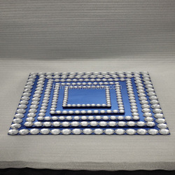 blue glass salad plates,glass plate with diamond bean,blue mirror glass