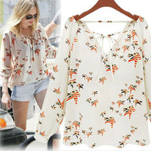 Walson top sales ladies elegant Bird Animal print blouses long Sleeve casual chiffon shirt design pictures Sexy V-neck t i
