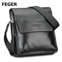 Feger best selling men sling bag black pu messenger bag for men