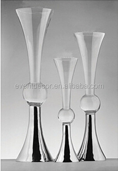 Clear Reversible Trumpet Glass Vaseflower Vase Wedding Centerpiece
