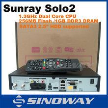 Best quality set top box satellite receiver dvb-s2 with 2 Card Readers Sunray solo2 digi sat receiver