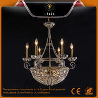 Classic western chandelier light,with hand-made crystal beads on antique rusty color metal frame,new choice for vintage lighting