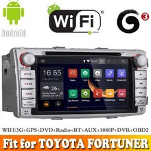 Pure Android 4.4 system car dvd radio gps navigation fit for TOYOTA FORTUNER 2012 WITH CHIPSET WIFI 3G INTERNET DVR OBD2 SUPPORT