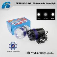 CREE U3 30W Motorcycle Spotlight DC12v U3 Angel Eyes Car led Headlamp There aperture motorcycle lights