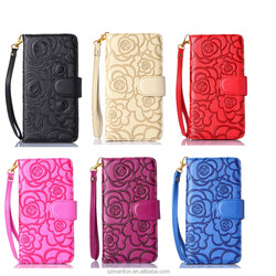 HOT!!!Colorful flower print pu leather cell phone case for Note4 with wallet