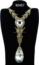 N2457 Fashion Charming Gold Crystal Pendant Lariat Necklace