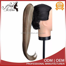 Best qulaity high temprature synthetic claw clip ponytail hair extension, blonde human hair ponytail