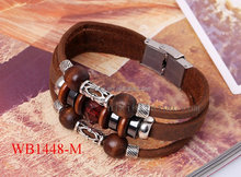 Fashion Jewelry murano bead charm bracelet, stainless steel clasp leather bracelet wholesale medical ID bracelet