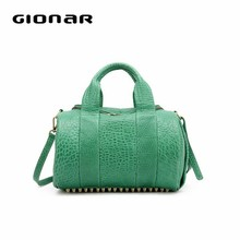 Gionar 2015 new style Mini Green lady tote hand bag with rivet in the bottom