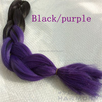 ( 8 packs Black+Purple ) STOCK ombre color micro braid synthetic hair/micro braid synthetic jumbo braiding hair