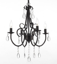 antique Iron and Crystal 4 Light Rustic Chandelier Pendant Light Fixture