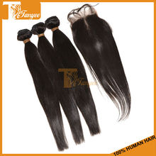 Grade 5A+ High Quality Peruvian Silky Straight Wave Hair Natural Black Color 1pc Lace Closure With 3pcs Human Hair Weaving