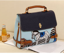 New Korean Women's Handbag Blue Pony Hobo PU Leather Shoulder Bag Messenger Bag Tote 3966