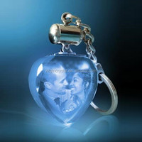 3D Laser Engraved Crystal Heart Shape Keychain Lovely Heart Crystal Photo Keychain