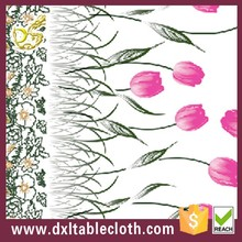 printed peva elegant wedding tablecloth with flannel backing
