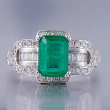 Fashion Solid 14K White Gold Natural Colombia Emerald & Full Cut Diamond Ring Jewelry