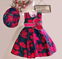 2015 new fashion baby girls summer cotton dress with hat printed flowers sleeveless dress 90-130cm 5 size