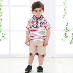 2015 New Design Casual Baby Boy Summer Clothing Sets Short Sleeve Strip Polo Shirts+Short Pant