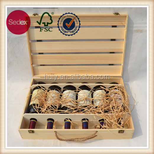 Wooden red wine box hold 6 bottles wooden wine crate wooden case