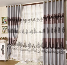 new design flocked curtain luxury blackout fabric Flame retardant for living room