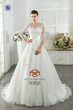 Designer Scoop 3/4 Sleeve A Line Floor Length New Arrival Elegant Bridal Dress HMY-D032 Real Model