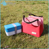 Customized Plaid Insulated Lunch Kit Bag For Office