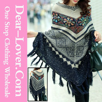 Navy Sequined Ugly Christmas Snowflake Poncho Sweater Knitting Patterns