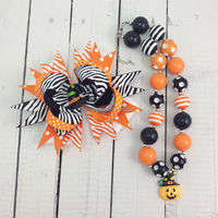 Halloween gift pumpkin pendant kids bubble necklace