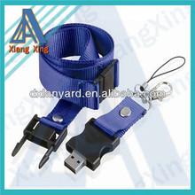 Plain blue mini usb flash drives buckle lanyard with capacity 128MB-64GB