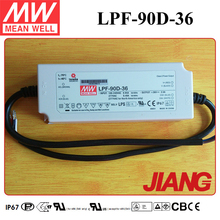 90W Meanwell 36 Volt Power Supply LPF-90D-36 Dimming LED Driver IP67 PFC Function