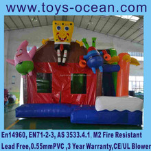 2015 new design cartoon inflatable bouncers combo with slide
