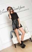 2015 Fashion black Women Dress with High quality PU leather in Yiwu
