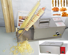 Hot Sale 3 in 1 Electric Sausage Hot Dog Twister Spiral Tornado Potato Cutter Curly Fries Cutter + Deep Fryer + Bamboo Skewer