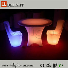 Outdoor furniture glow up plastic 16 color changing rechargeable modern design led light high back dining chair