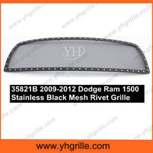 Fits 2009-2012 Dodge Ram 1500 Stainless Black Mesh Rivet Grille