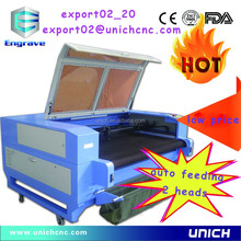 deft design auto feed 2 heads /auto feed fabric laser cutting machine