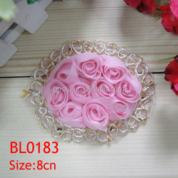 BL 0183 handmade hot design cheap mesh lace chiffon rose trim fabric flower applique for dresses
