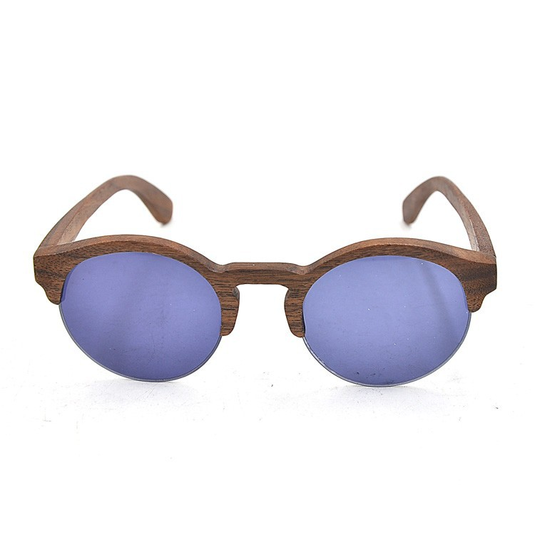 Wooden Round Shape Half Frame Sunglasses With Purple Lens ...