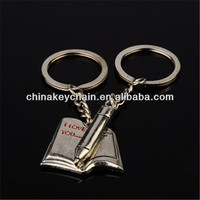 Personalized book and pen lovers keychain