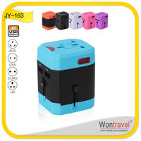 JY-158 Wontravel Pantone color universal 2 USB multi-nation travel adapter with UK/US/AU/EU plug