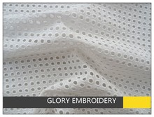 Whte eyelet cotton embroidered lace fabric for fashion tops