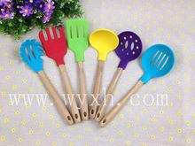 silicone spatula slotted spoon with bamboo handle