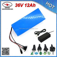 Deep Cycle 540W Electric Bike Battery 36V 12Ah with Li-ion 18650 Battery Cell PVC Cased 36V 10S 15Amp BMS & 42V 2A Charger