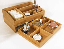 Cosmetic Packaging storage box bamboo wood home organization stores