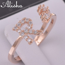 2015 new arrival R letter shape crystal copper ring