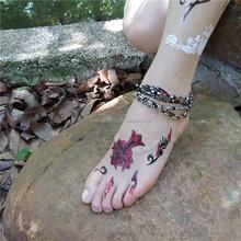 Ebullient fire style metallic temporary tattoo for feet