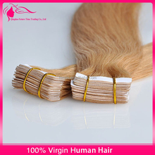 Competitive Price Wholesale Price No Shedding And Fedding Blue Tape Cuticle Remy Tape Hair Extensions Curly Blonde