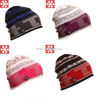 GS0045 Knit Beanie Hats Fleece Lined Skull Ski Caps Winter Outdoor Camo Knitted Beanie Cap with Fleece Lining 4 Colors