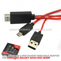 usb female hdmi male converter 2m 11P MHL Micro USB to RCA Cable Mini USB Adapter 1080P HDTV for Samsung Galaxy S3 S4 S5 4Note 3